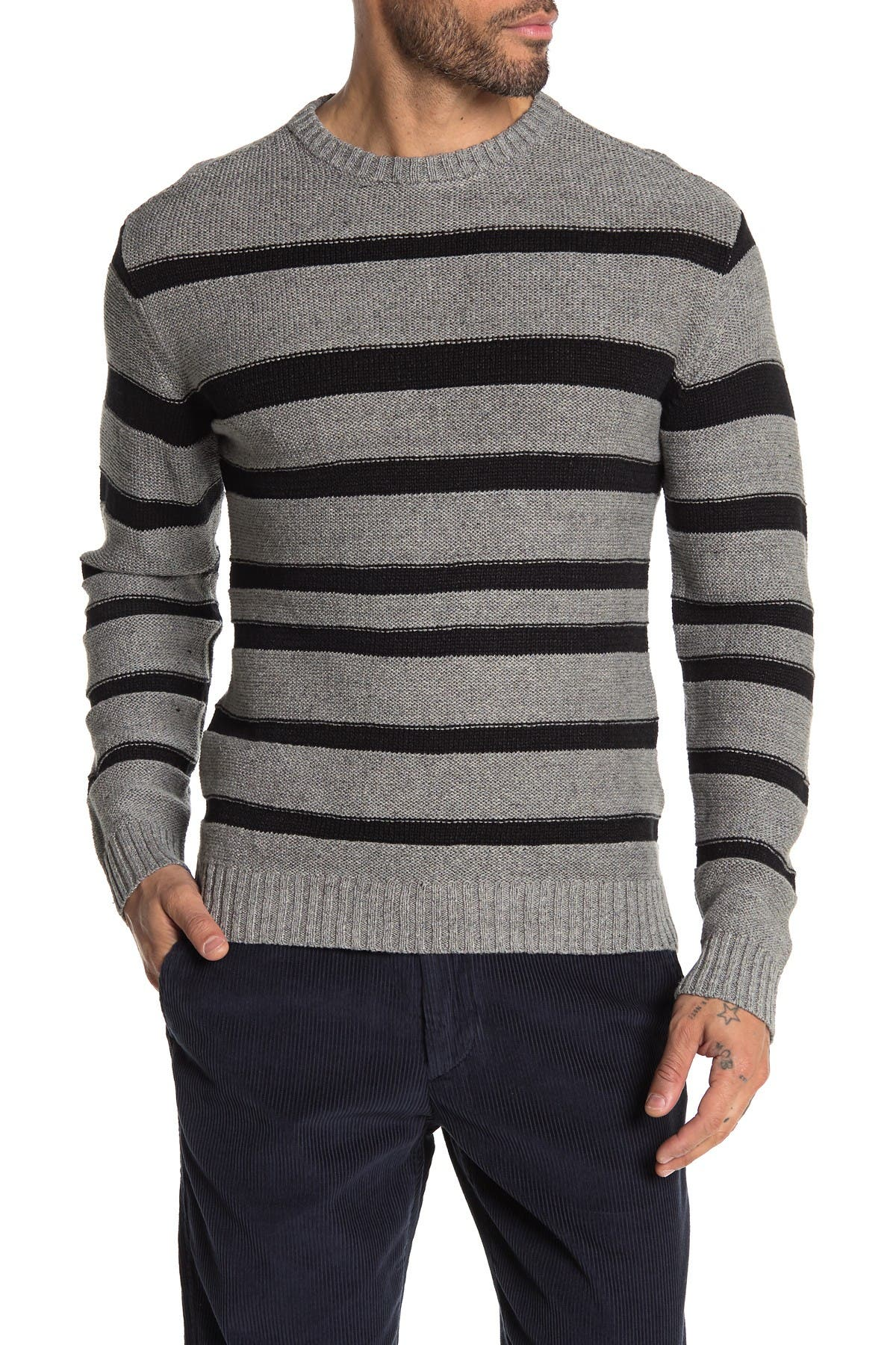 Image of BALDWIN Gilpin Stripe Crew Neck Sweater