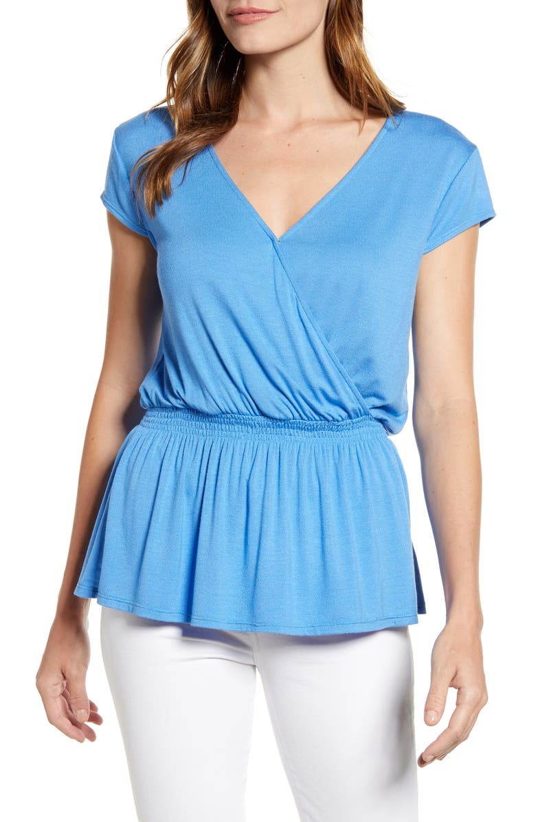 GIBSON x Hot Summer Nights Almost Ready Smocked Jersey Peplum Top, Main, color, 400