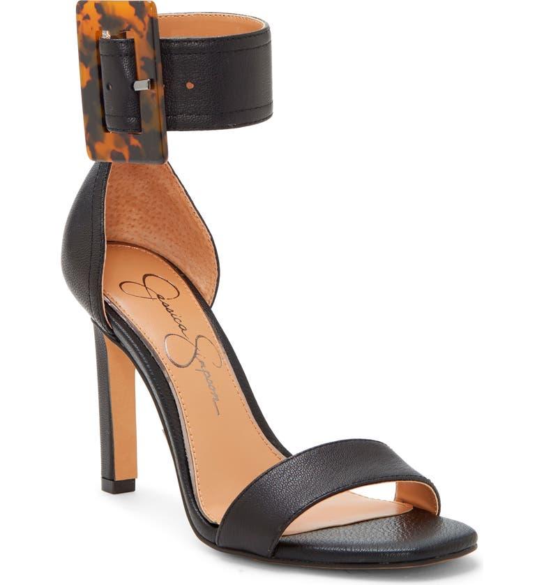 JESSICA SIMPSON Caytie Ankle Strap Sandal, Main, color, BLACK LEATHER