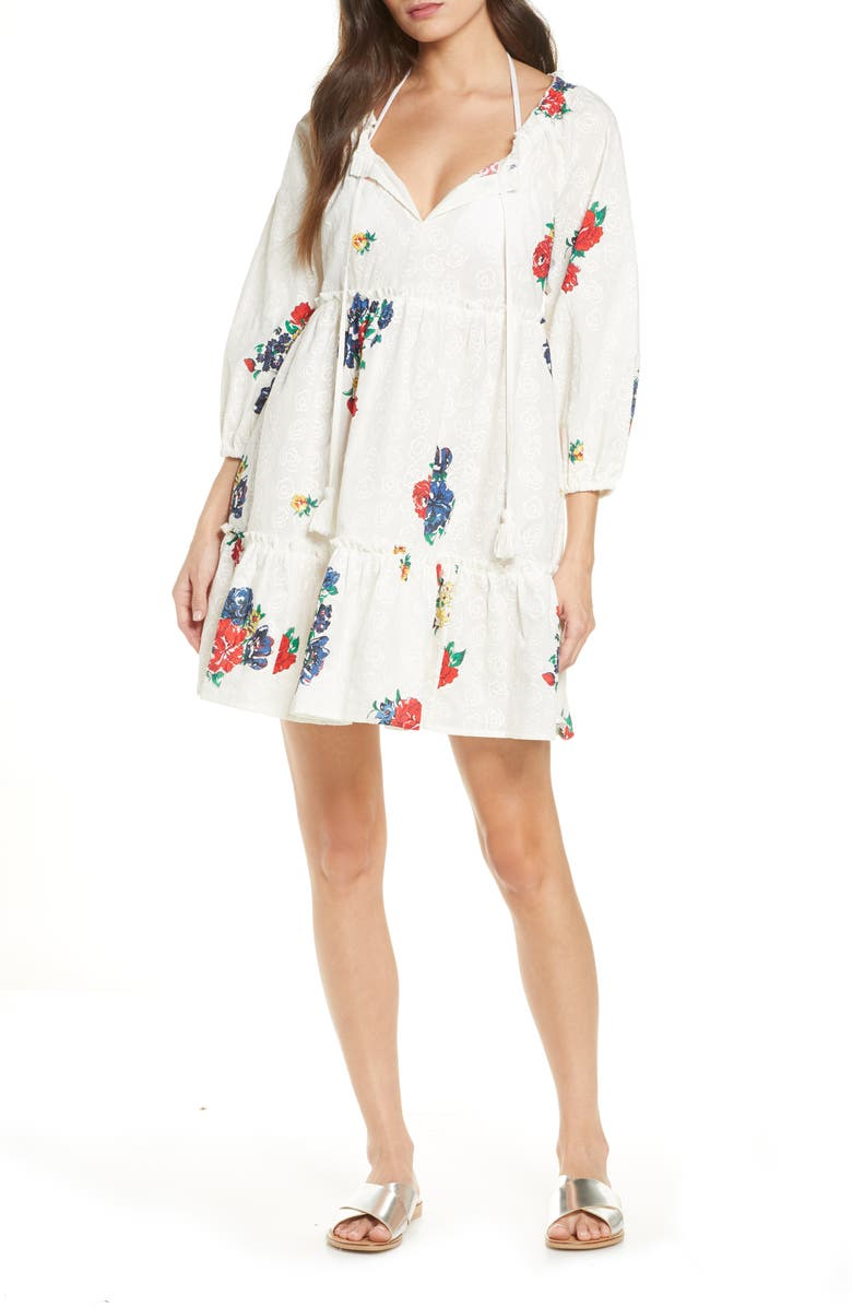 TORY BURCH Floral Embroidered Cotton Cover-Up Minidress, Main, color, 900