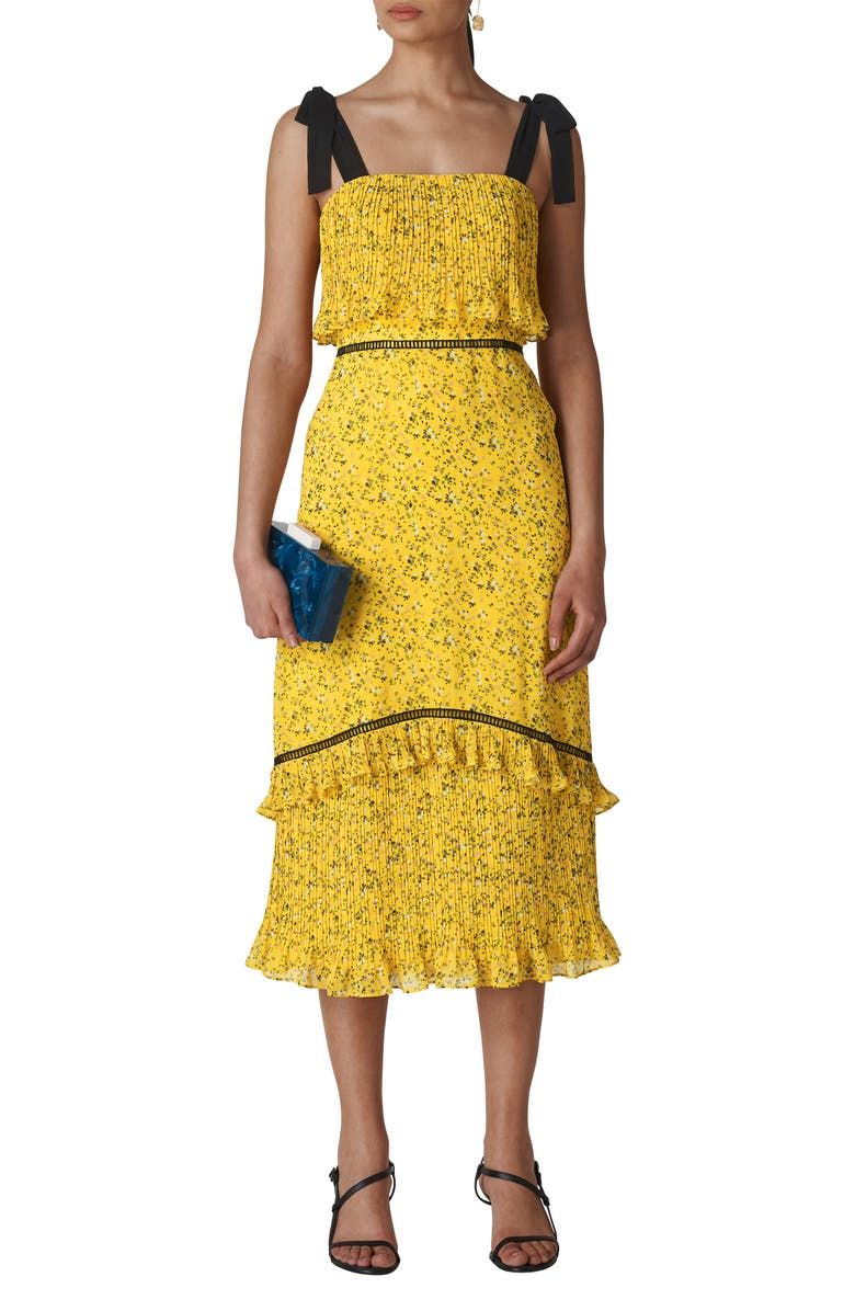 WHISTLES Ditsy Blossom Pleated Dress, Main, color, YELLOW/ MULTI