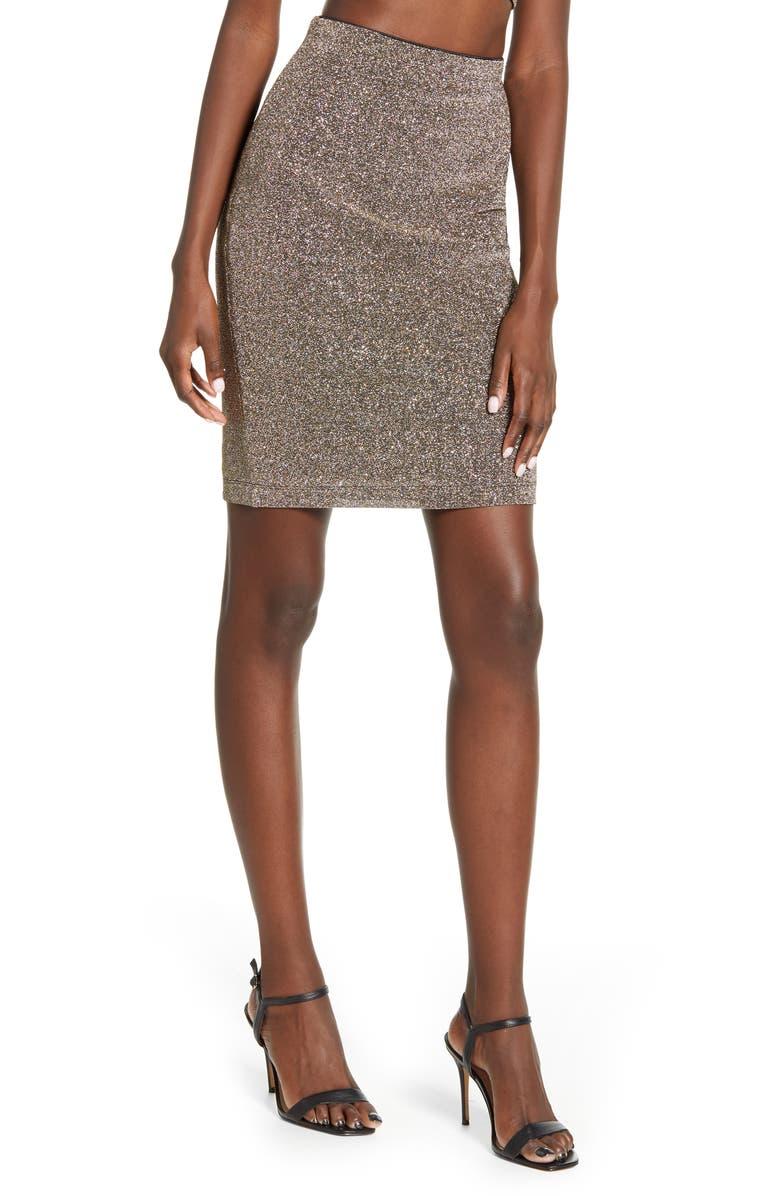 LEITH Shine Miniskirt, Main, color, METALLIC SILVER