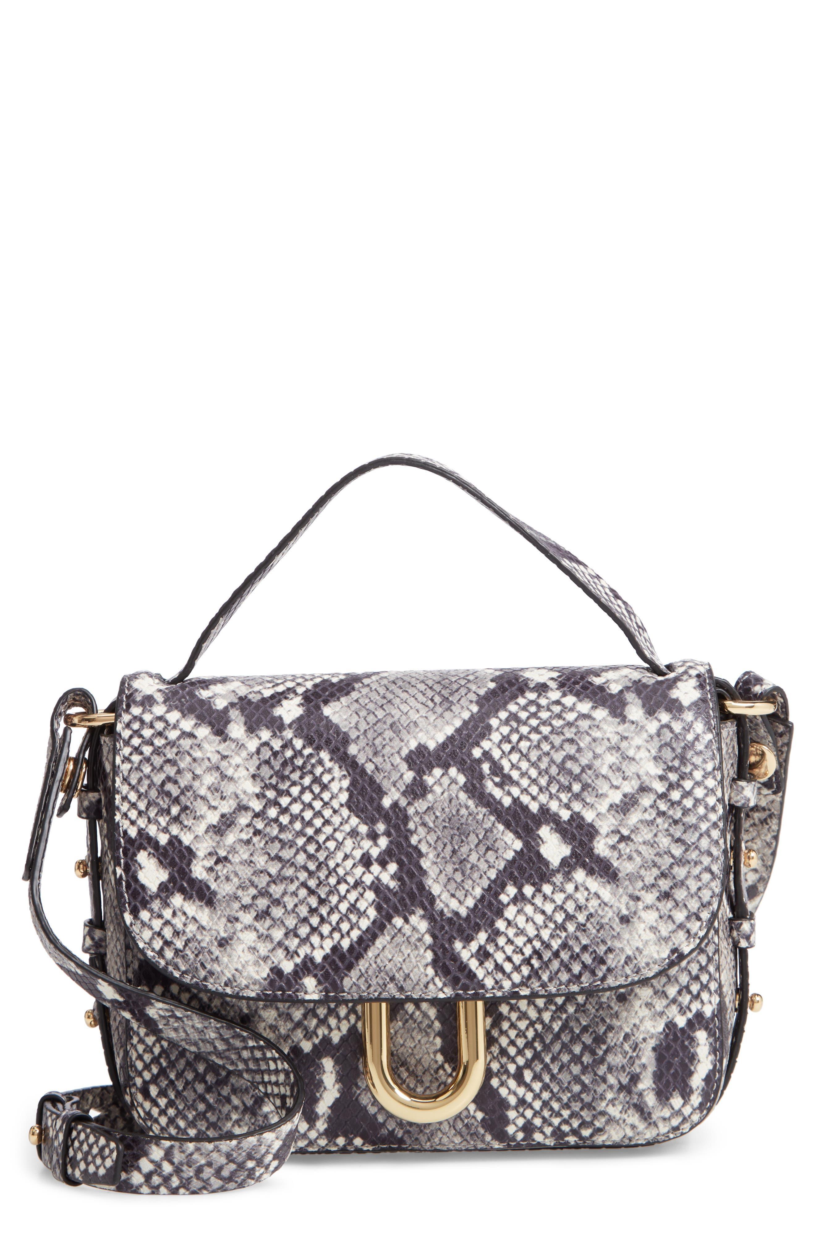 Harper Snake Embossed Leather Crossbody Bag, Main, color, 020