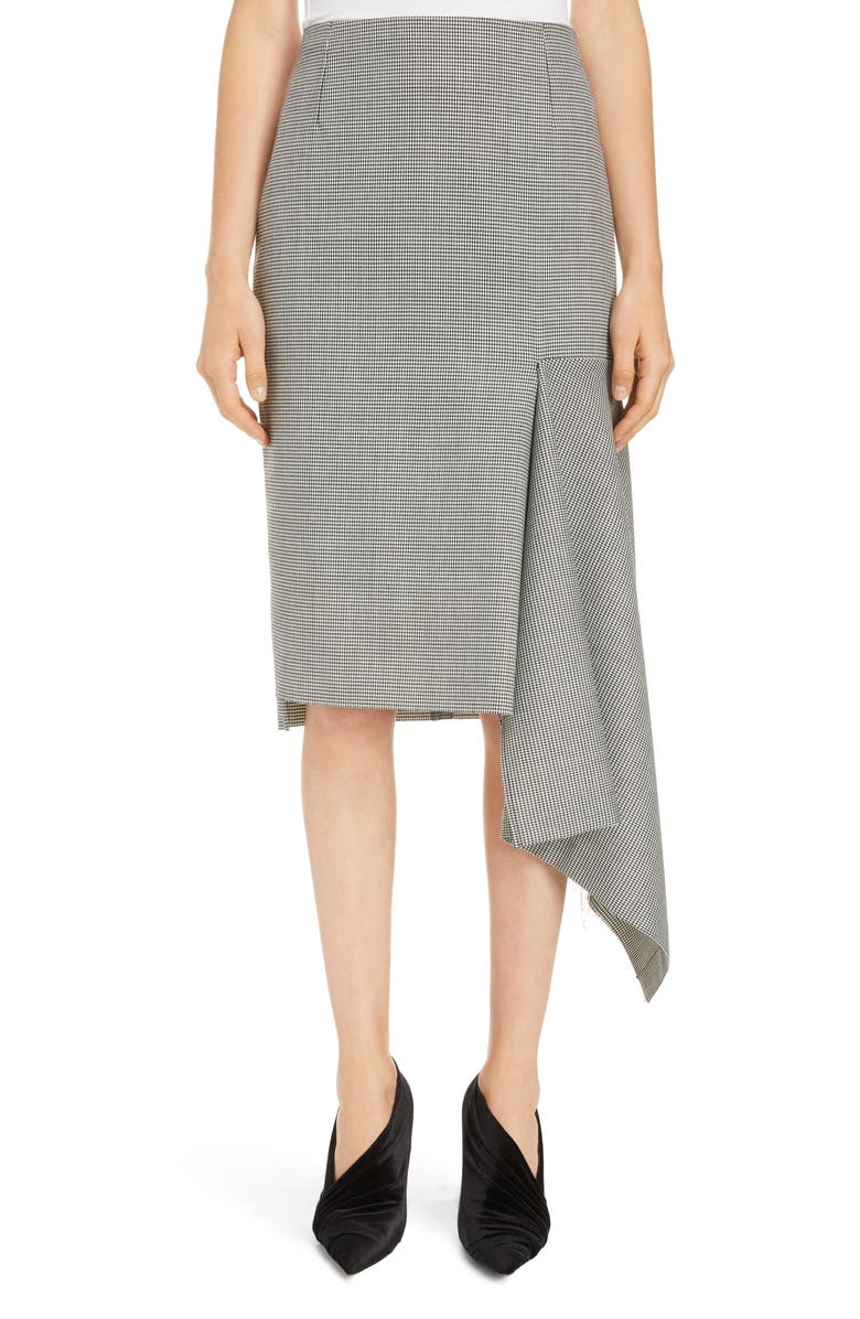 BALENCIAGA Houndstooth Godet Midi Skirt, Main, color, 001