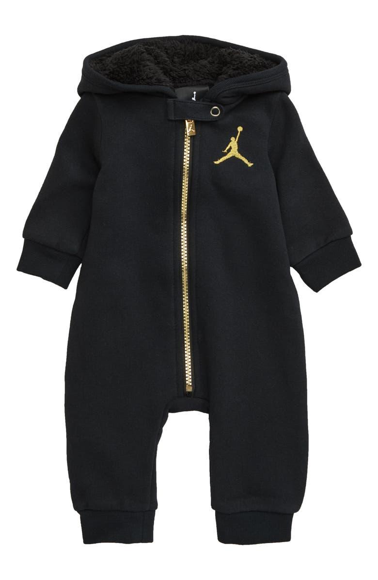 NIKE Metal Man Full Zip Hooded Jumpsuit, Main, color, BLACK