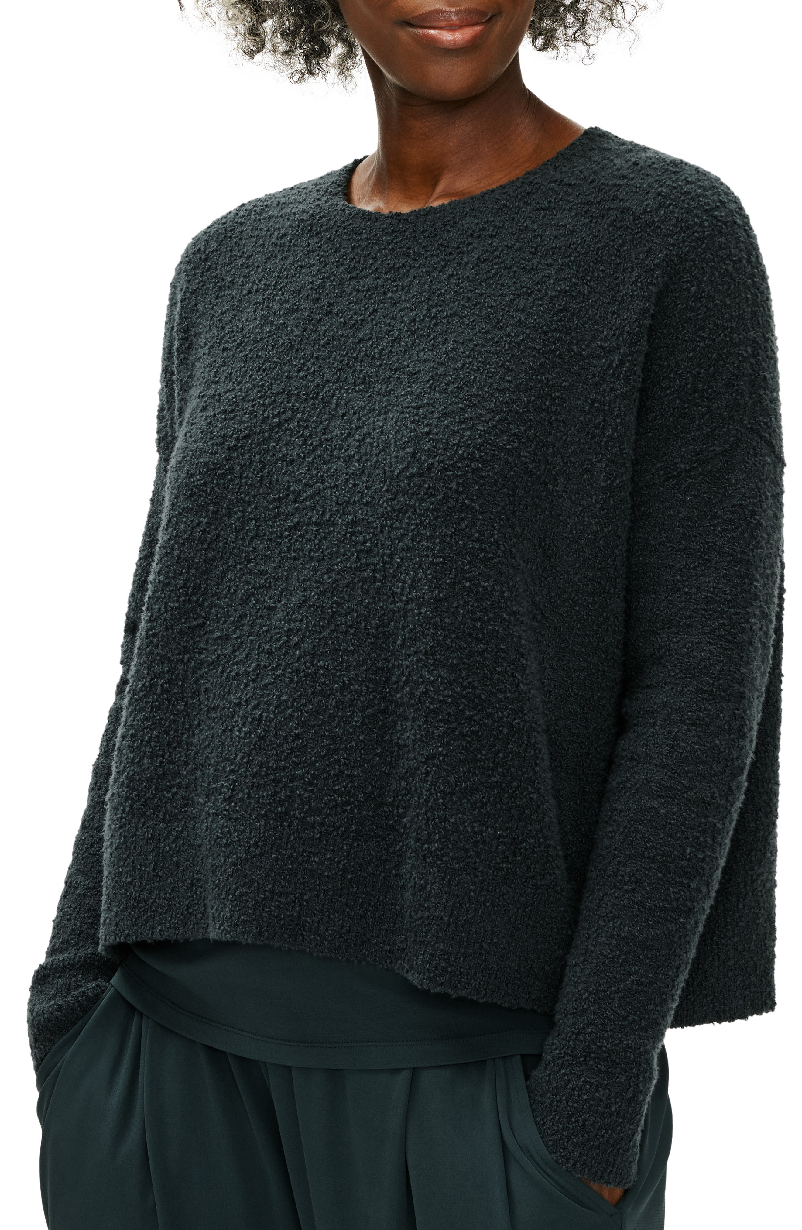 Boucle yarns spun with organic cotton texture this slouchy pullover that warms up a work-to-play day. Style Name: Eileen Fisher Crewneck Boxy Pullover. Style Number: 6110496. Available in stores.