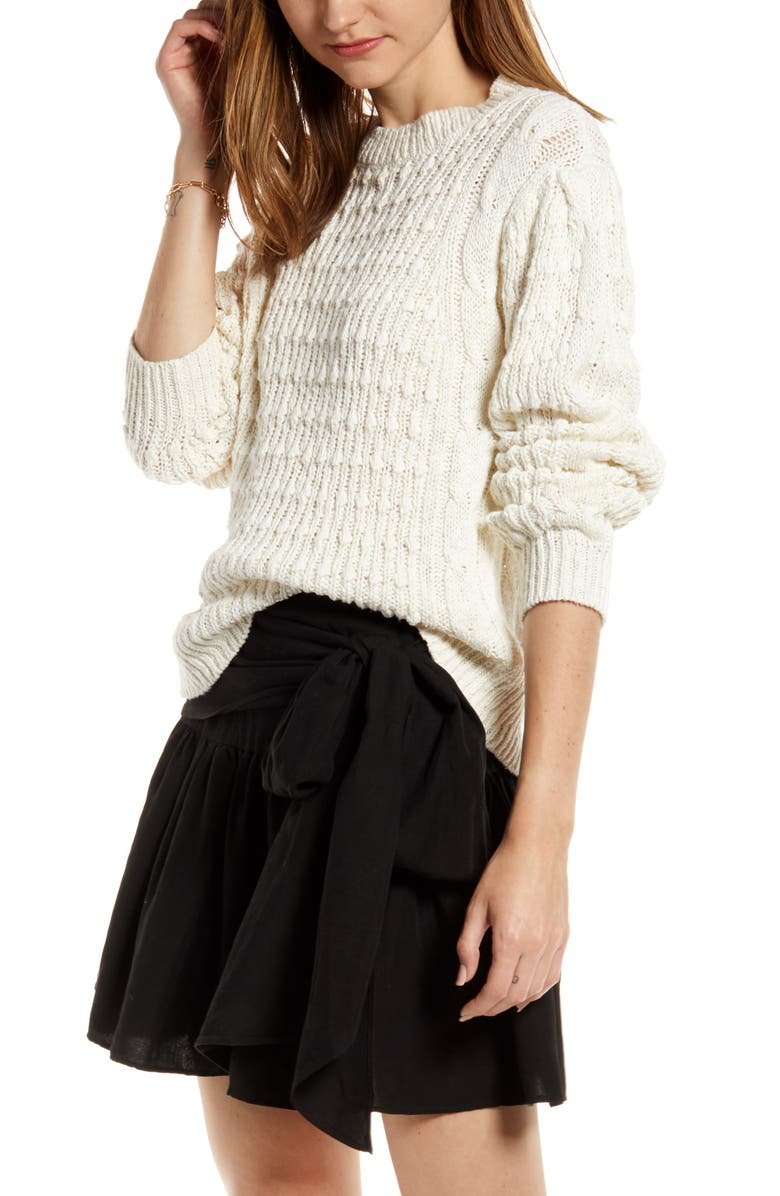 SOMETHING NAVY Cable Sweater, Main, color, IVORY DOVE