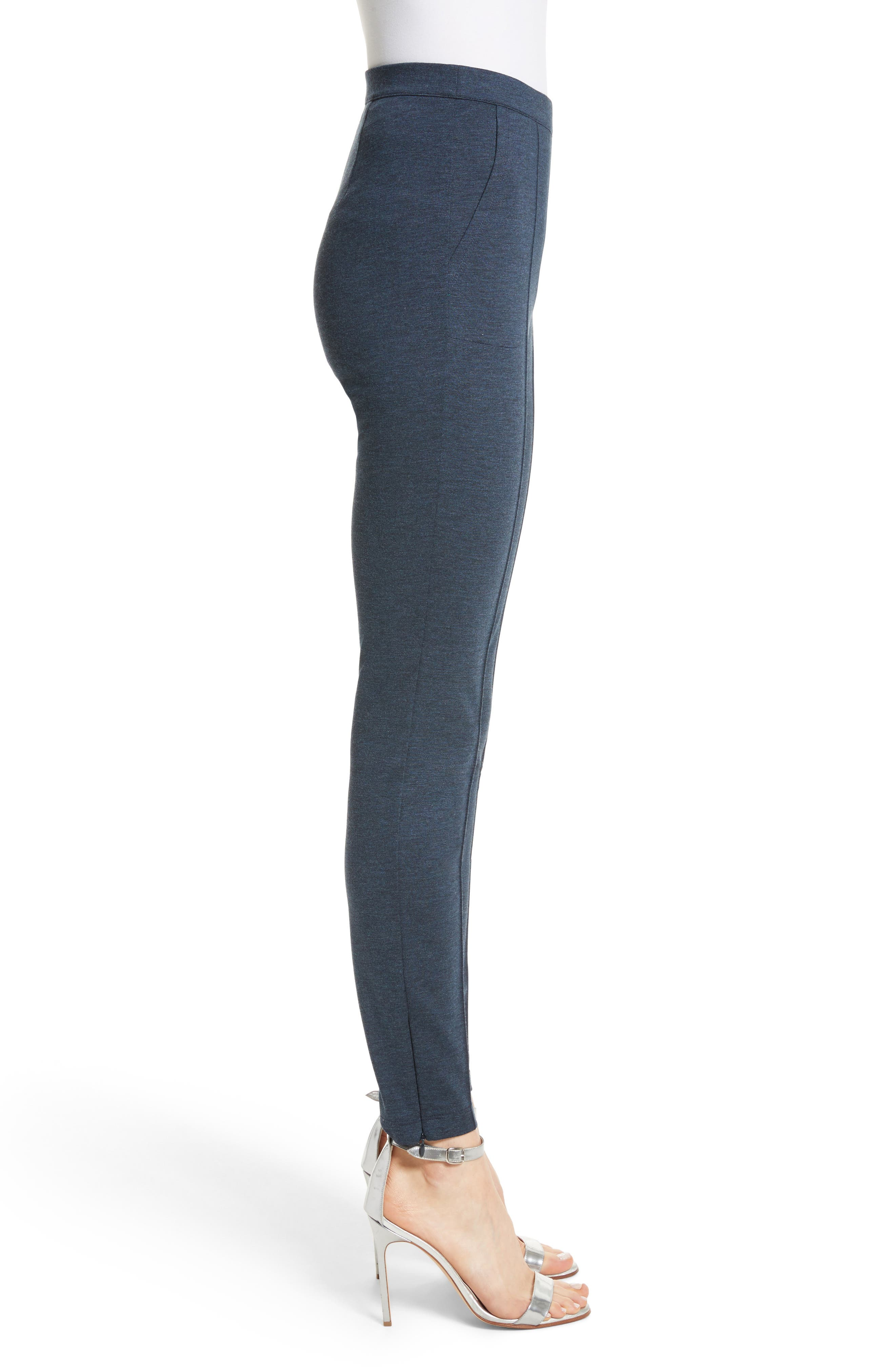 ,                             Mélange Stretch Ponte Crop Pants,                             Alternate thumbnail 3, color,                             DARK BLUE