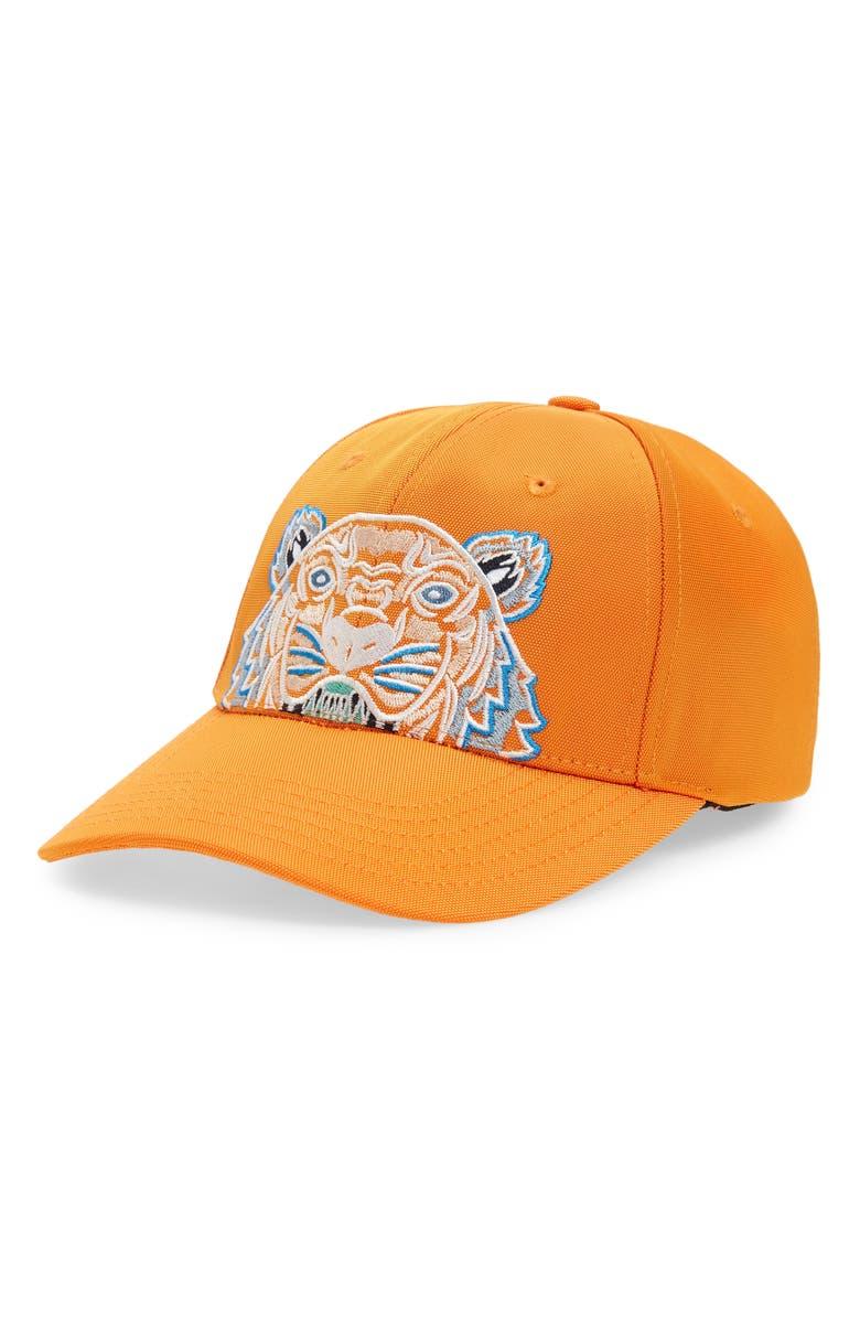 KENZO Embroidered Tiger Logo Baseball Cap, Main, color, ORANGE