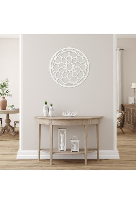 Image of Stratton Home Distressed White Wood Medallion Wall Decor