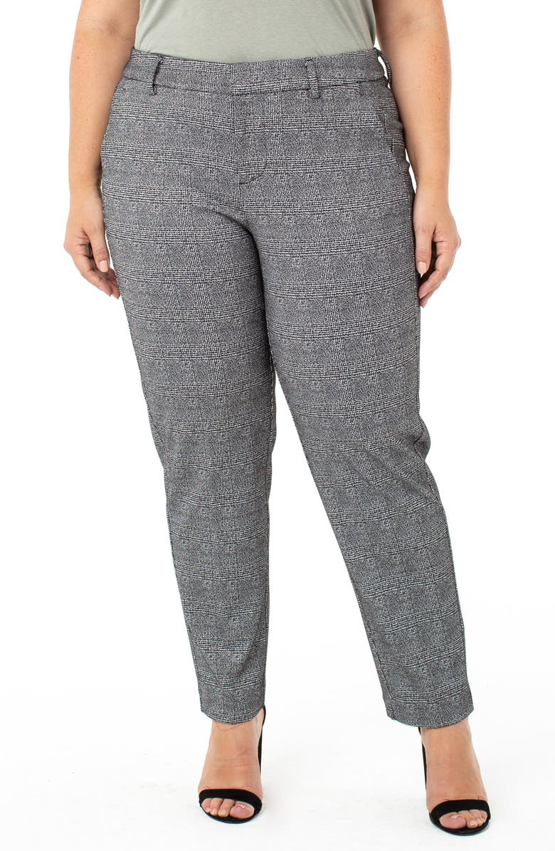 LIVERPOOL Kelsey Knit Trousers, Main, color, BLACK/ WHITE PLAID