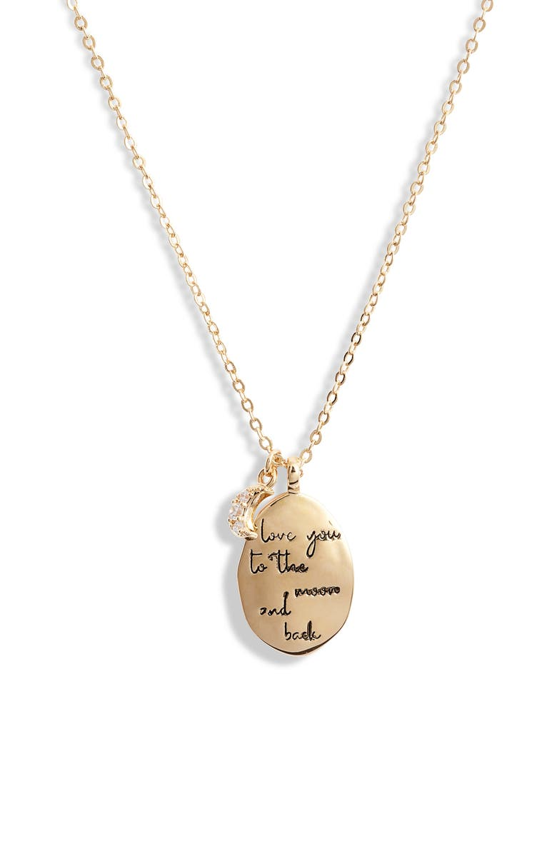 NORDSTROM Love Phrase Coin Pendant Necklace, Main, color, GOLD- LOVE U TO THE MOON