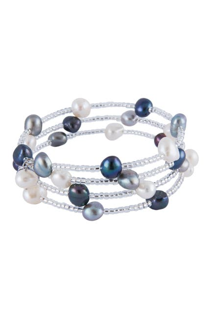 Image of Splendid Pearls Sterling Silver Fancy Bead & 6-7mm Freshwater Pearl Accent Wrap Bracelet