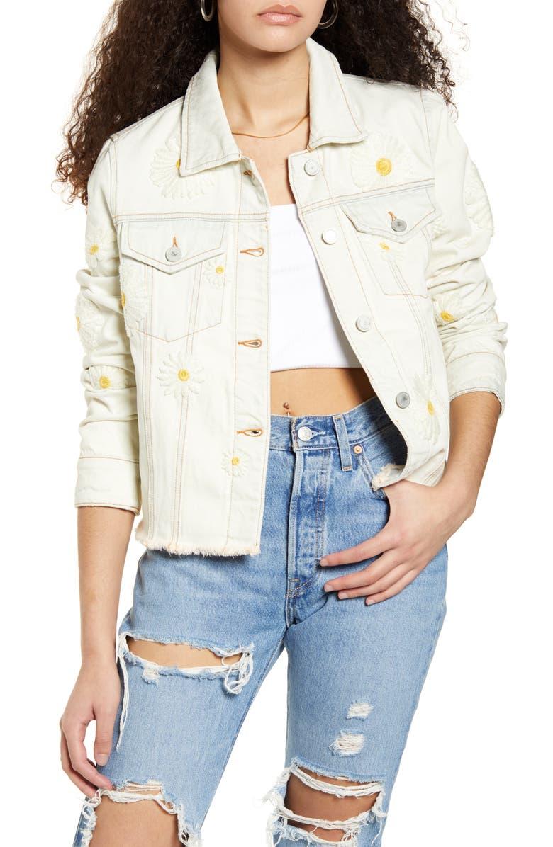 BLANKNYC Daisy Embroidered Bleached Denim Jacket, Main, color, DAISY DUKE