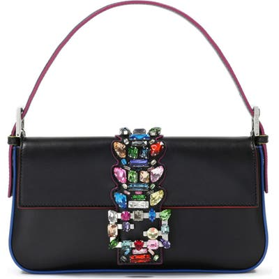 Fendi Crystal Embellished Leather Baguette -