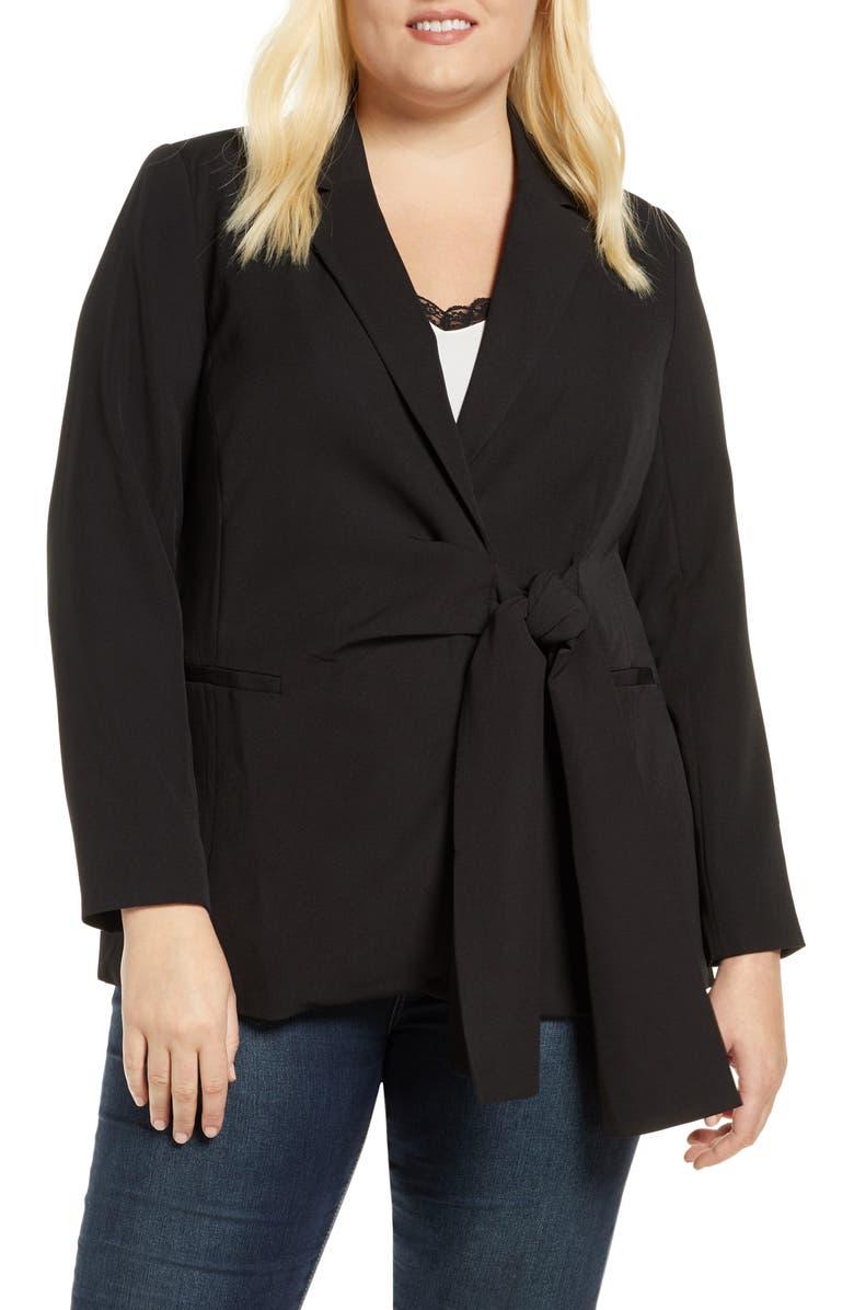 ELOQUII Tie Front Blazer, Main, color, TOTALLY BLACK