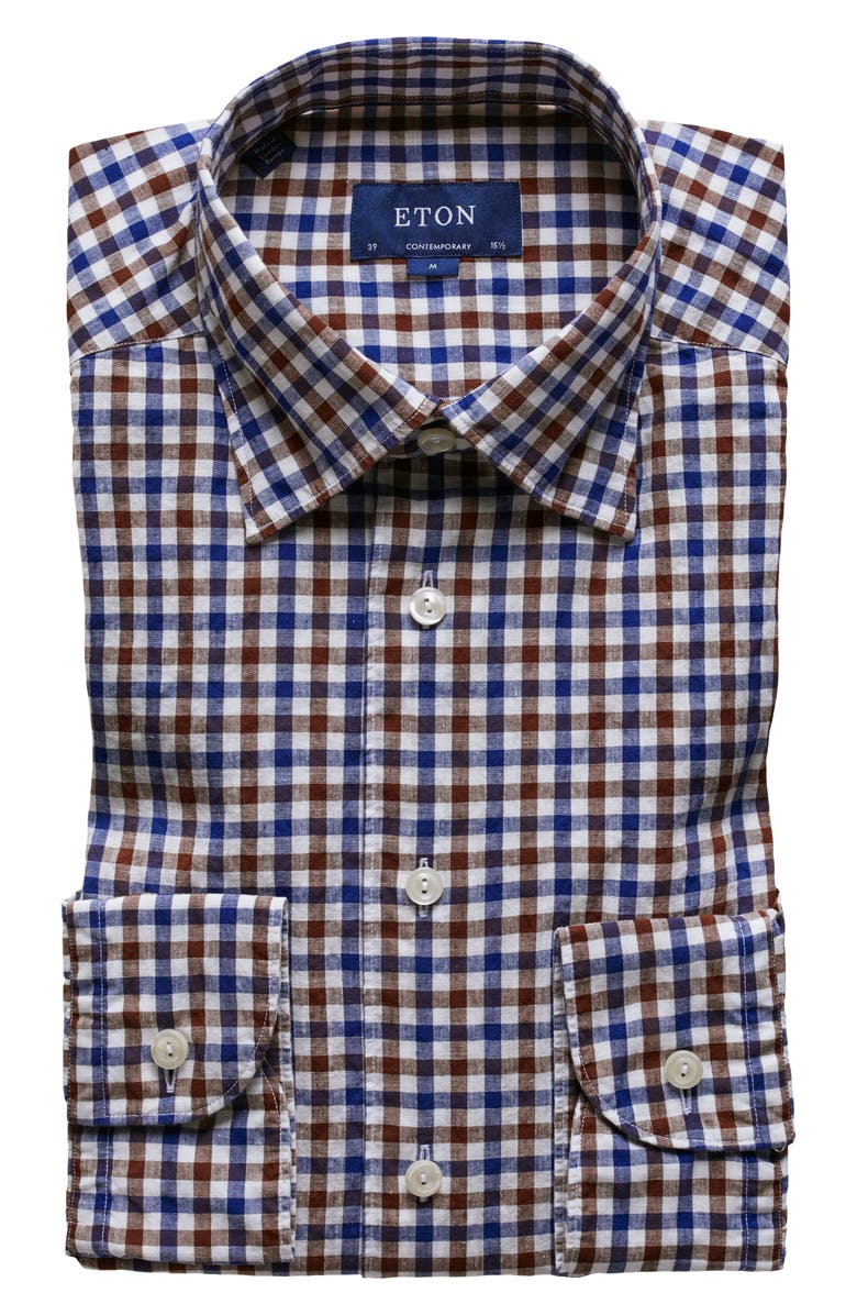 ETON Soft Collection Contemporary Fit Check Cotton & Linen Dress Shirt, Main, color, BROWN