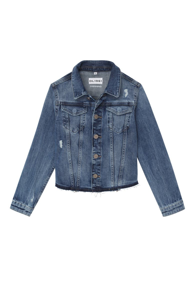 DL1961 Distressed Denim Jacket, Main, color, CLOUD