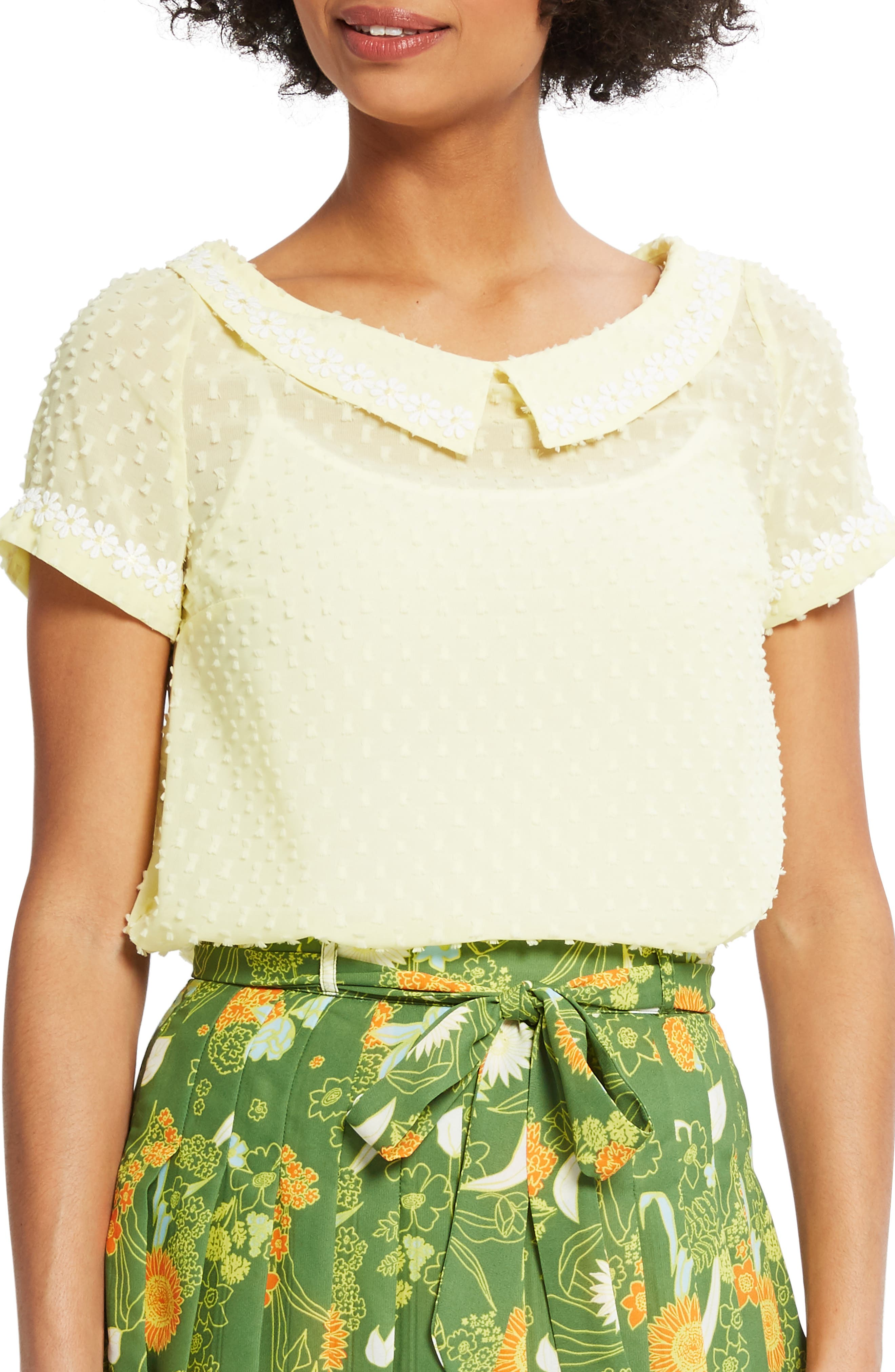 Daisy Trim Blouse, Main, color, YELLOW