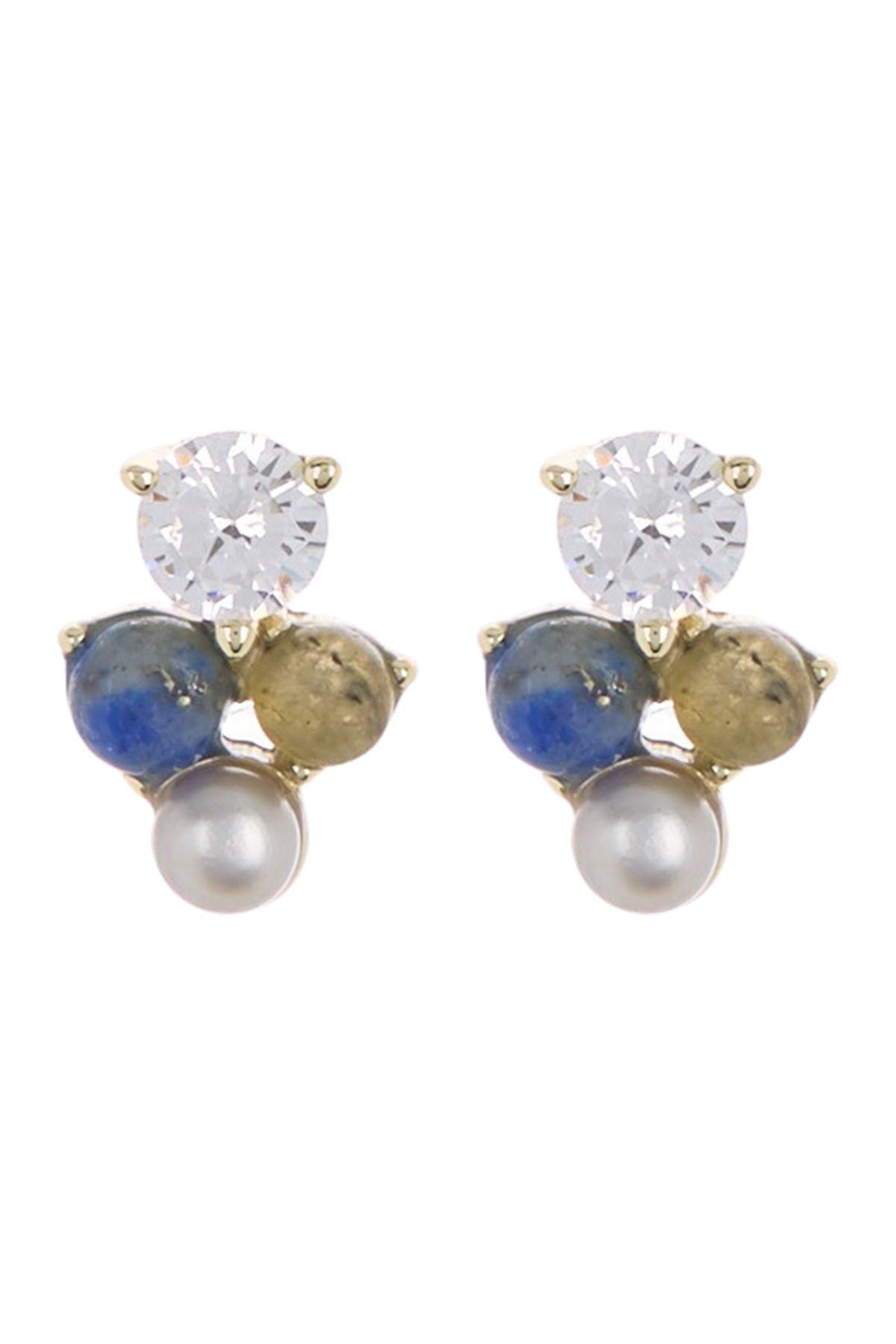 Image of Carolee Donna Sterling Silver Semi-Precious Stone & Freshwater Pearl Stud Earrings