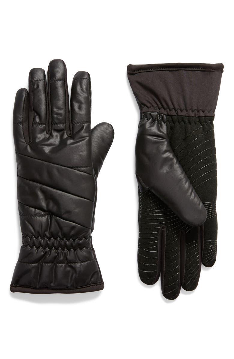U|R Weatherproof Touchscreen-Compatible Gloves, Main, color, BLACK