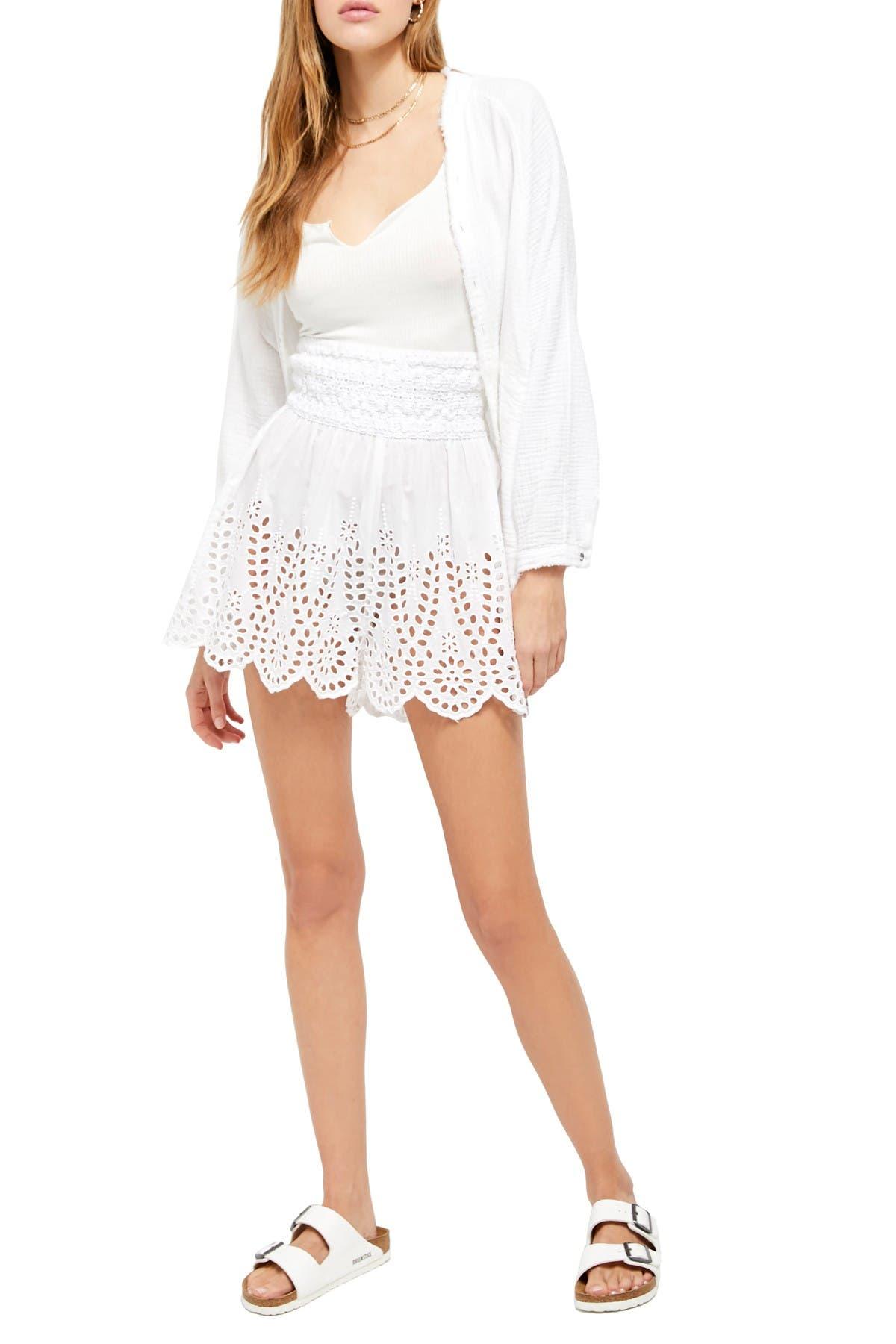 Image of Free People Elena High Waisted Eyelet Shorts