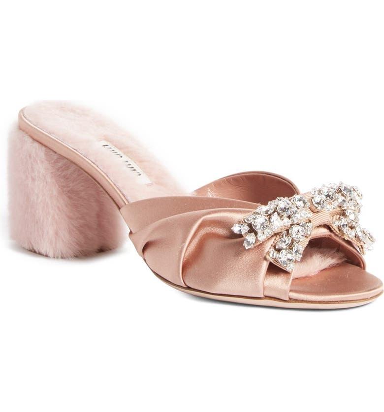 b9bcfb6d44 Miu Miu Crystal Embellished Slide Sandal (Women) | Nordstrom