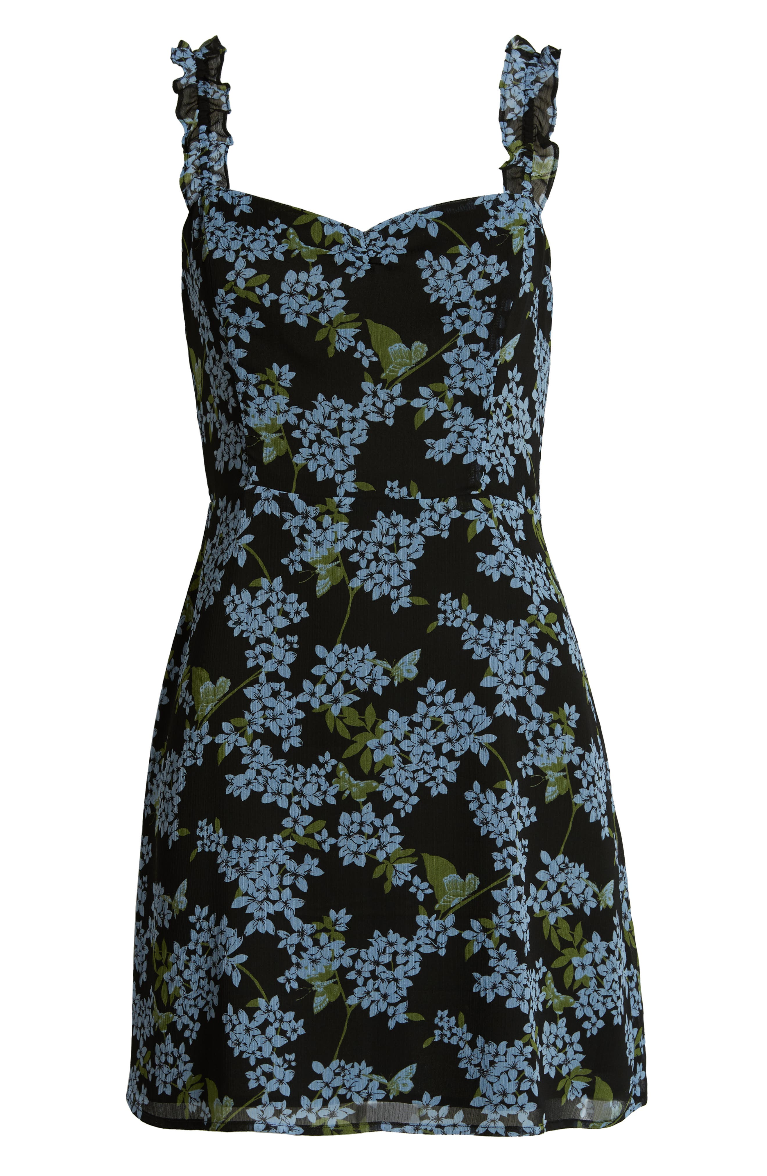 ,                             Stella Ruffle Strap Minidress,                             Alternate thumbnail 7, color,                             BLACK BLUE FLORAL