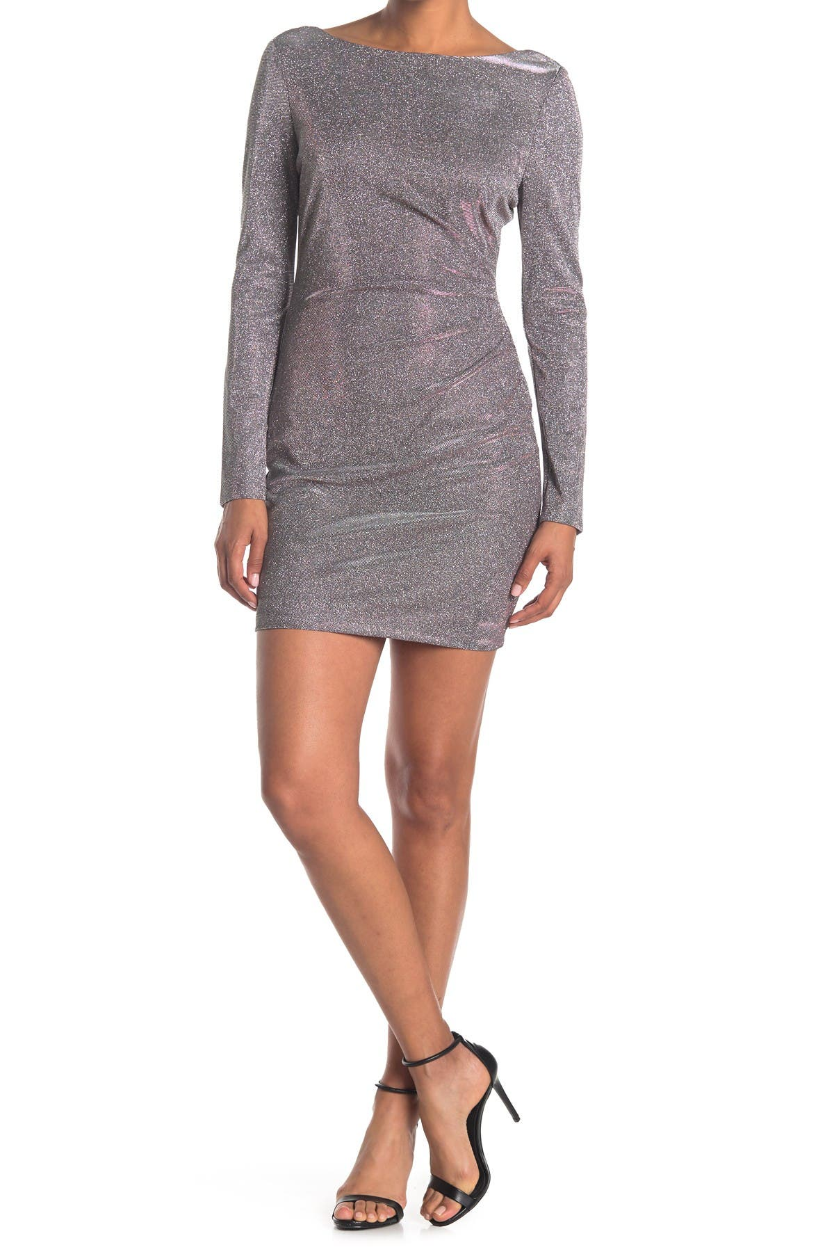Image of JUMP Metallic Boatneck Long Sleeve Mini Dress