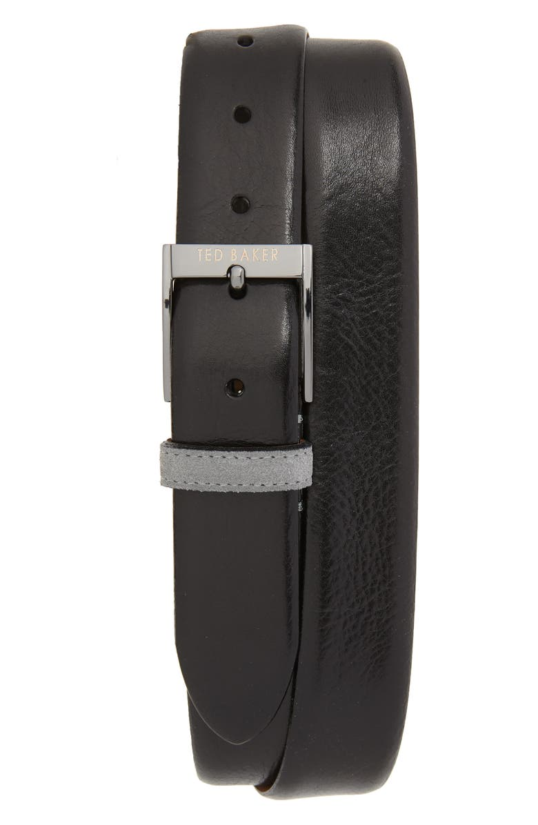 TED BAKER LONDON Pests Leather Belt, Main, color, BLACK