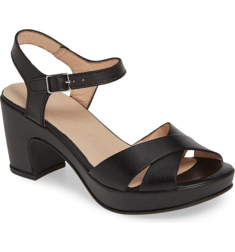 WONDERS Platform Sandal, Main, color, NATURE BLACK LEATHER