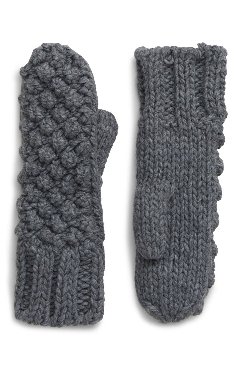 SHIRALEAH Vale Popcorn Knit Mittens, Main, color, GREY
