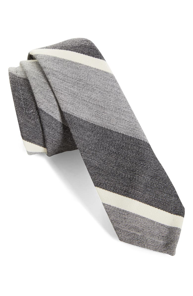 THOM BROWNE Stripe Wool & Cotton Tie, Main, color, MED GREY