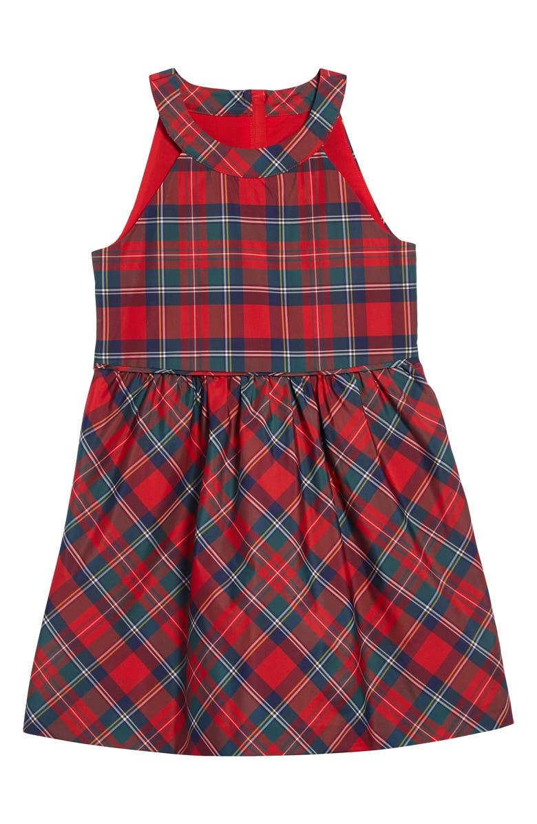 VINEYARD VINES Merry Plaid Party Dress, Main, color, RED VELVET