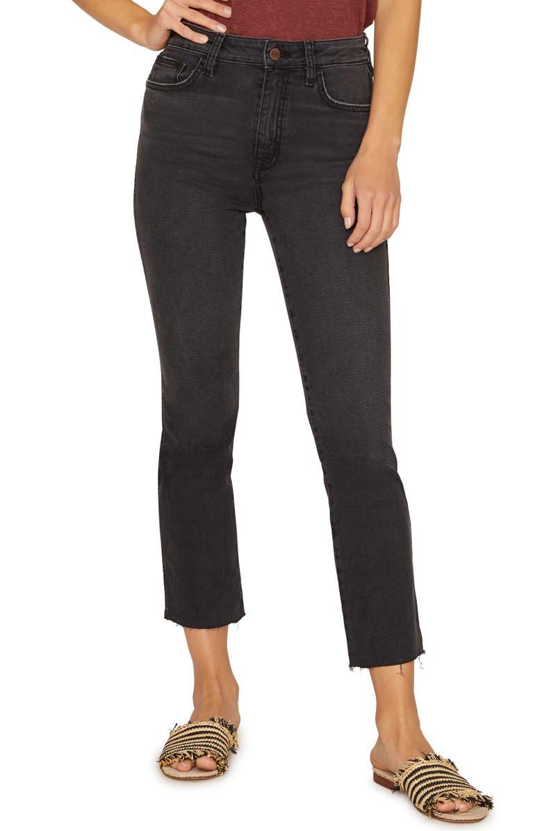 SANCTUARY Modern High Waist Crop Straight Leg Jeans, Main, color, 001
