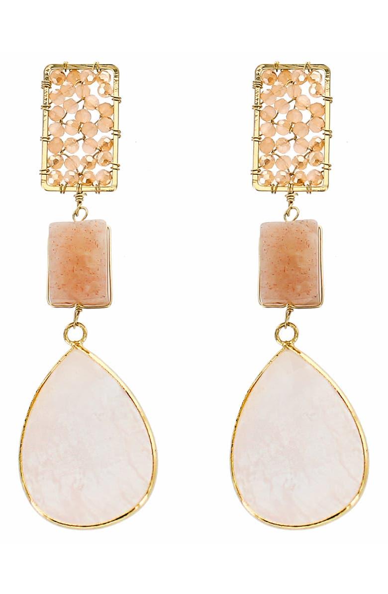 PANACEA Linear Teardrop Earrings, Main, color, BLUSH/ GOLD