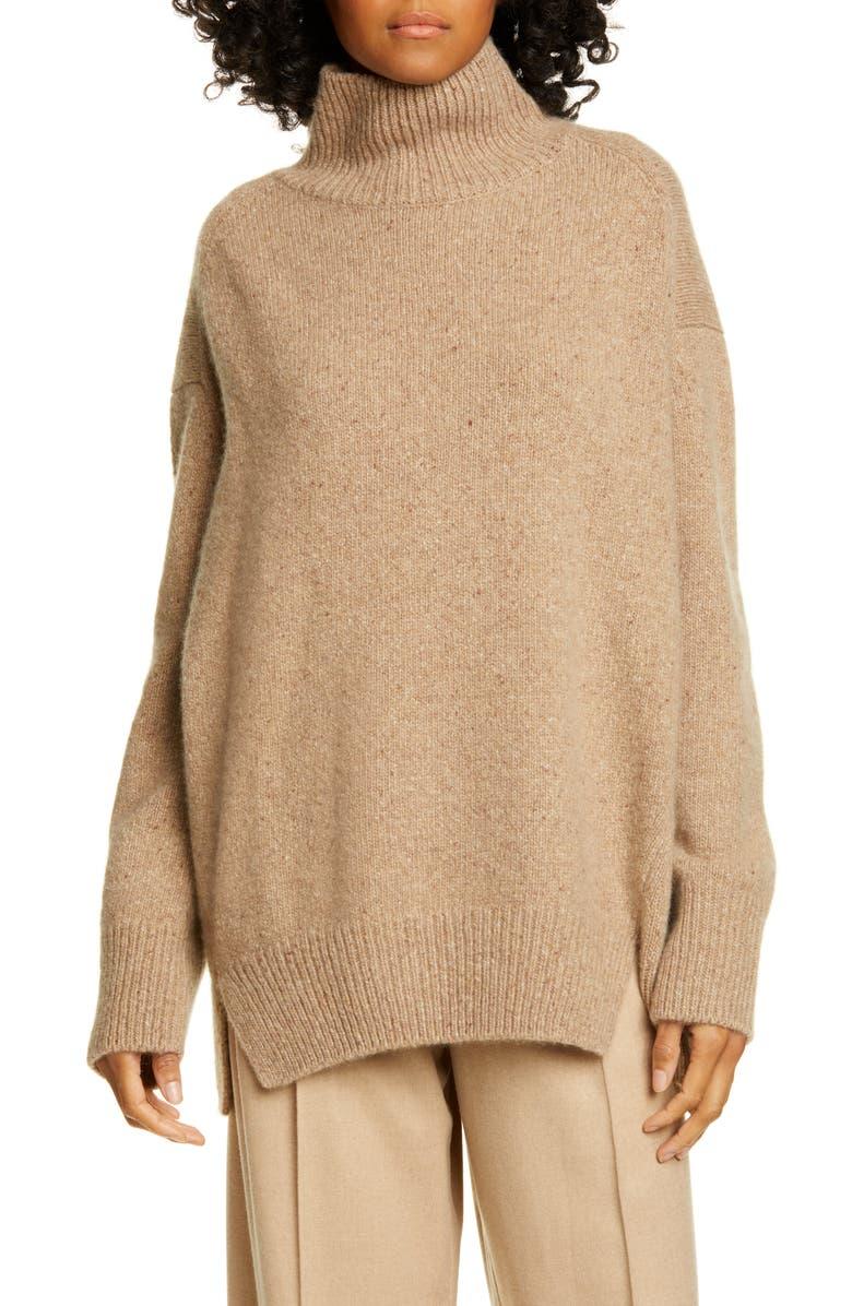 VINCE Double Slit Cashmere Turtleneck Sweater, Main, color, CAMEL