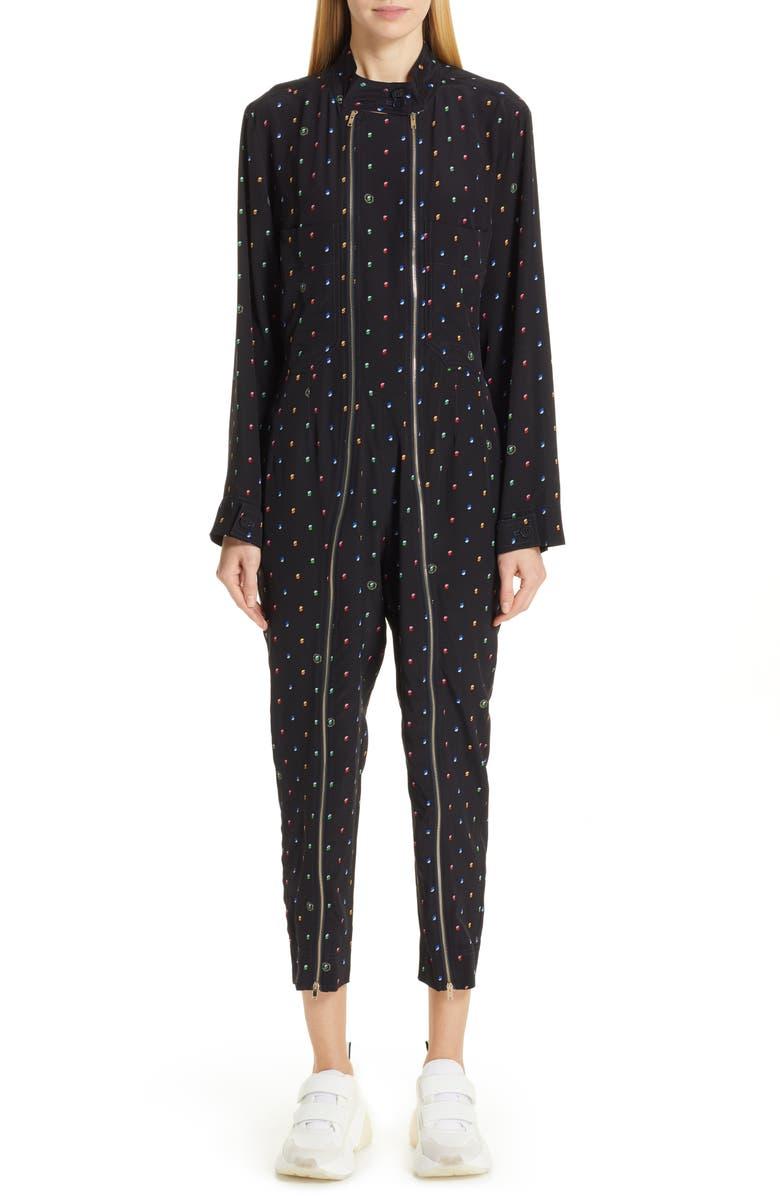 STELLA MCCARTNEY Circle Print Silk Jumpsuit, Main, color, 400