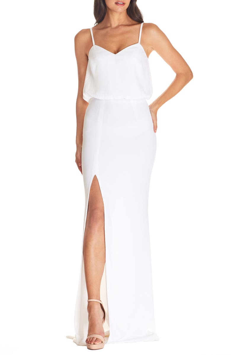 DRESS THE POPULATION Gracelyn Blouson Jersey Gown, Main, color, WHITE
