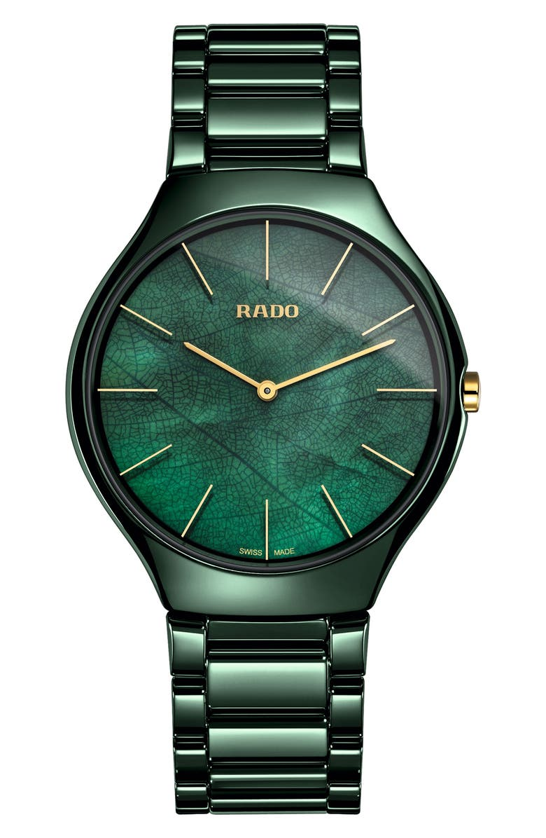 RADO True Thinline Ceramic Bracelet Watch, 39mm, Main, color, GREEN