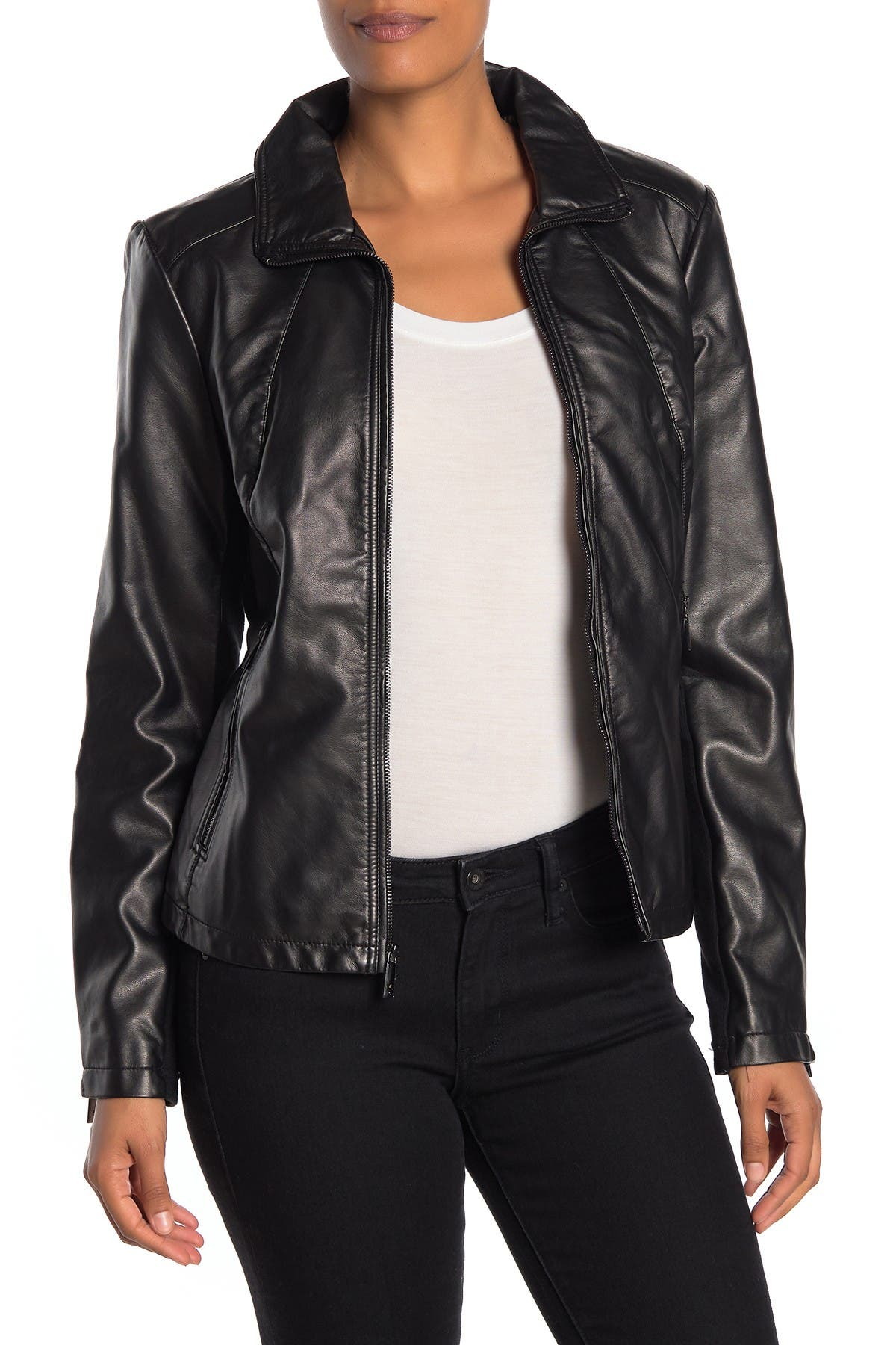 Kenneth Cole Womens Zip Front Faux Leather JKT