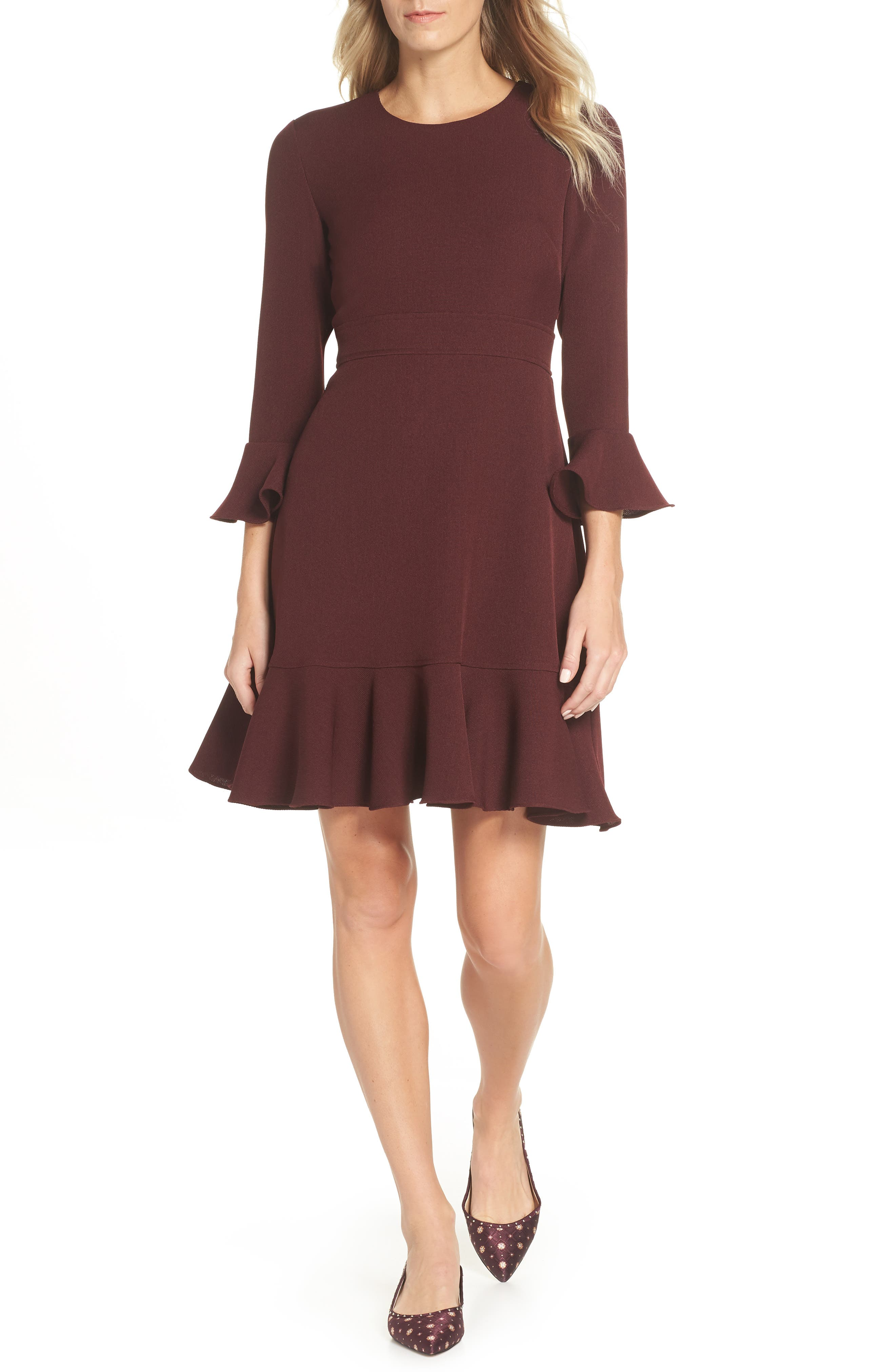 Image of Eliza J Bell Sleeve Fit & Flare Dress