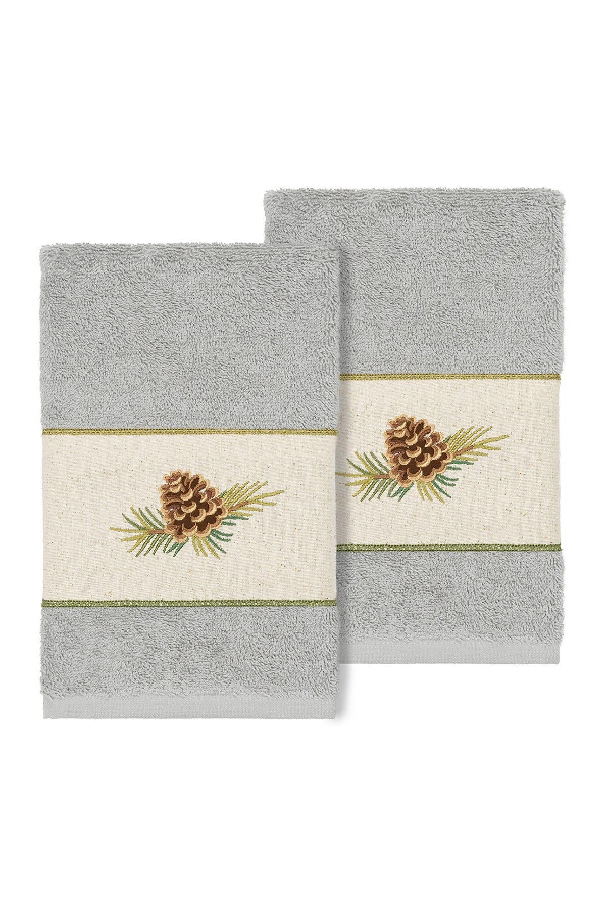 Image of LINUM HOME Pierre Embellished Hand Towel - Set of 2 - Light Gray