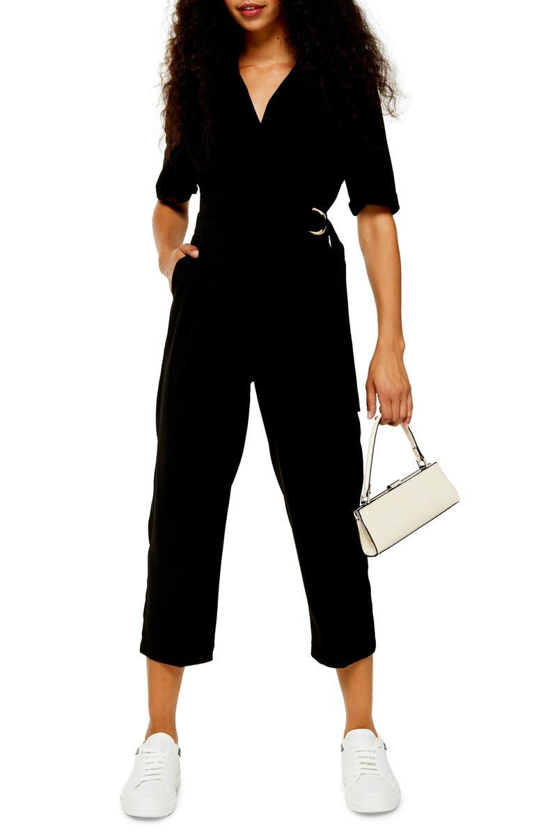 TOPSHOP Utility Buckle Jumpsuit, Main, color, BLACK