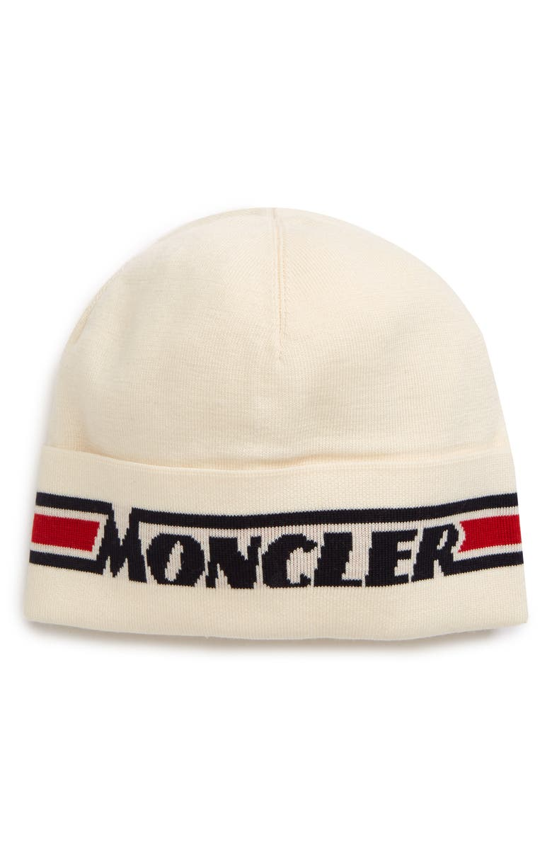 MONCLER Tricot Beanie, Main, color, WHITE