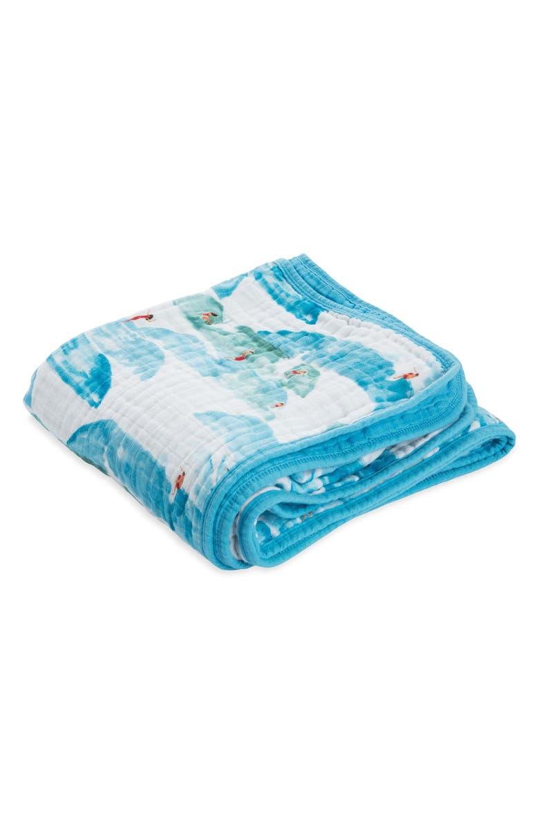 LITTLE UNICORN Cotton Muslin Quilt, Main, color, SURF