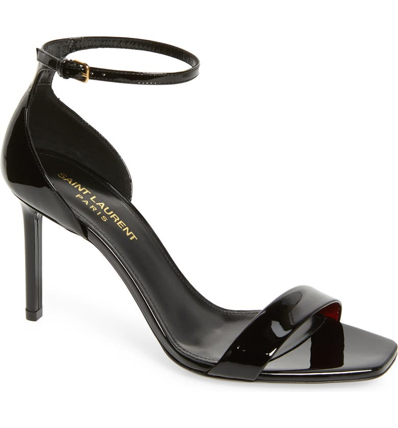 SAINT LAURENT Amber Sandal, Main, color, BLACK PATENT