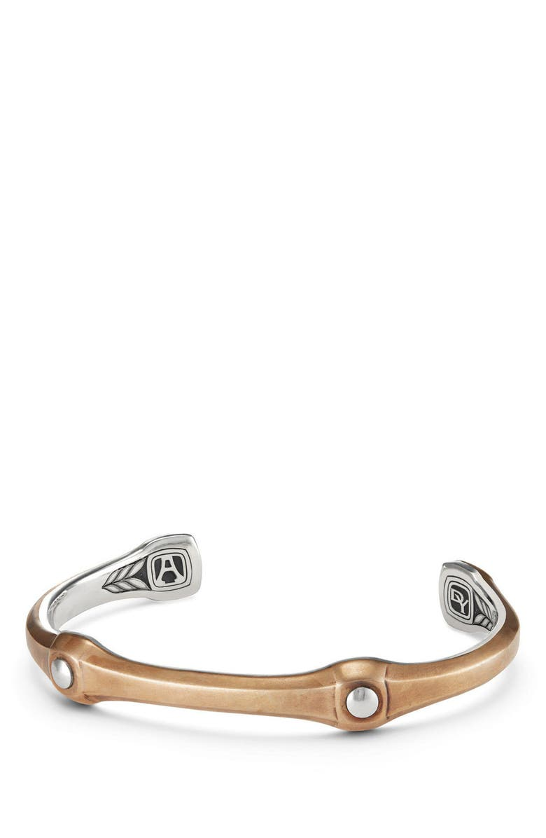 DAVID YURMAN Anvil Cuff Bracelet with Black Diamond, 10.5mm, Main, color, SILVER/ BRONZE