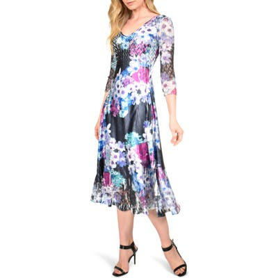 Petite Komarov Floral Charmeuse & Chiffon Midi Dress, Purple