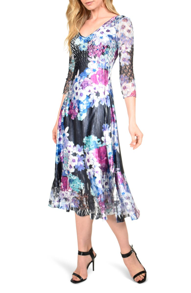 KOMAROV Floral Charmeuse & Chiffon Midi Dress, Main, color, LAVENDER VISE